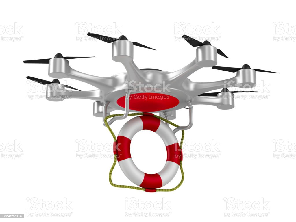 octocopter with lifebuoy on white background. Isolated 3d illustration stock photo