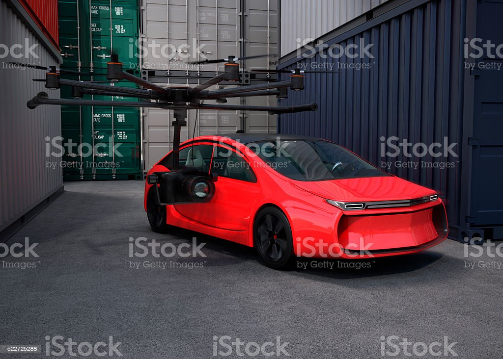 Octocopter with movie camera for shooting film stock photo