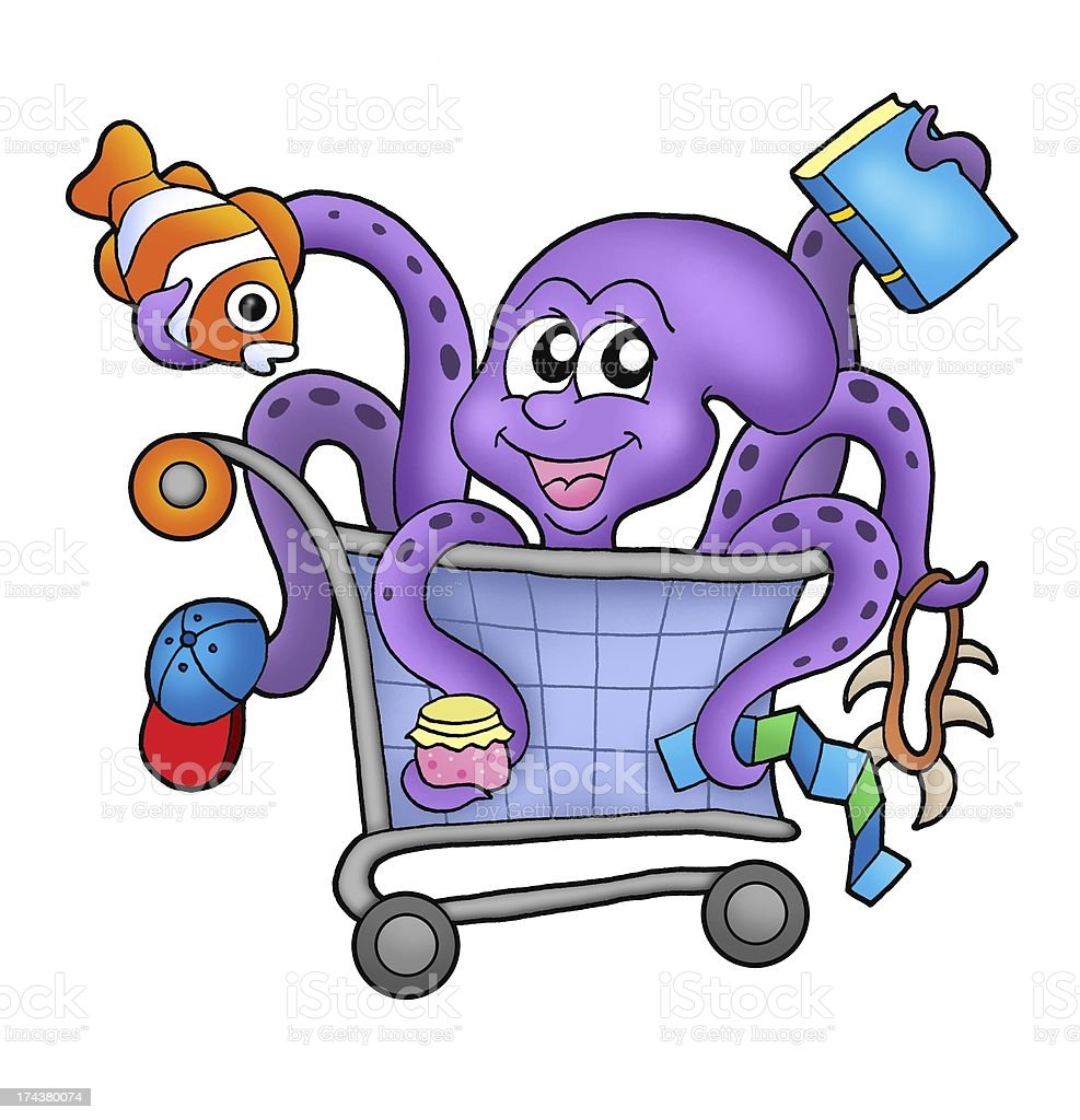 Octopus and shopping cart Octopus and shopping cart - color illustration. Abstract Stock Photo
