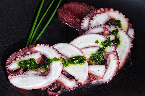 Octopus carpaccio stock photo