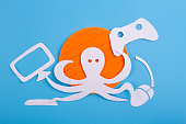 octopus character is playing video games