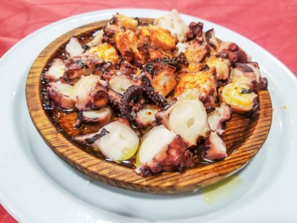 Octopus on fair sauce stock photo