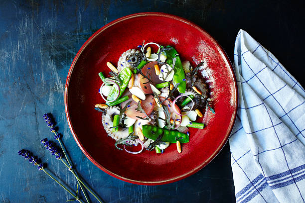 Octopus Salad Octopus salad with green beans and onion. Red plate standing on the middle of the frame. Surface is a dark blue metal surface with a cloth on side. octopus photos stock pictures, royalty-free photos & images