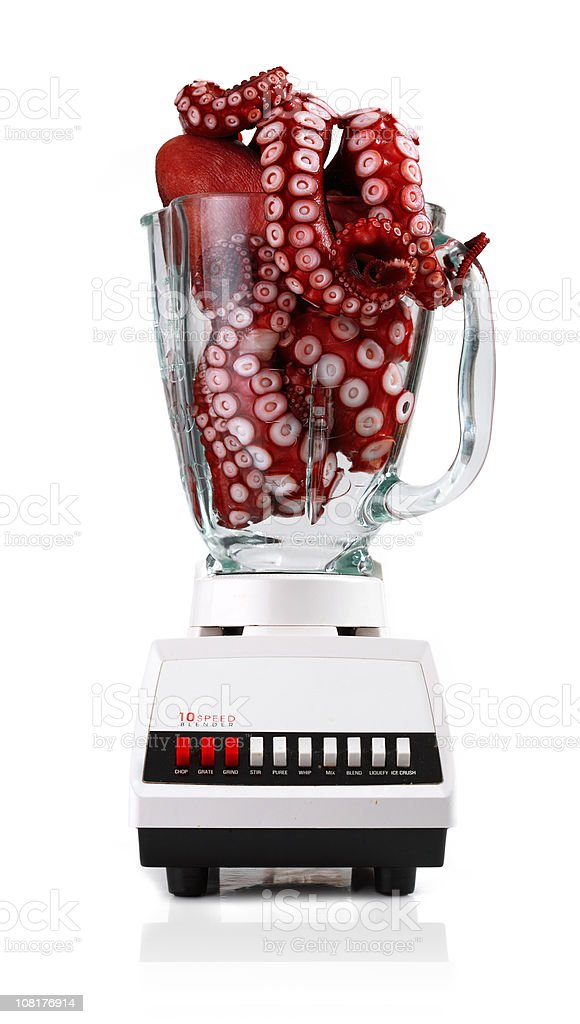 Octopus Sitting in Blender, On White Background royalty-free stock photo