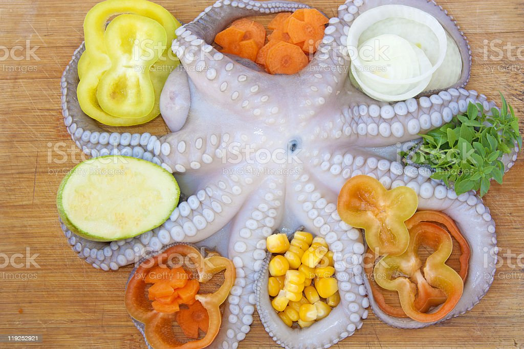 Octopus with fresh vegetables royalty-free stock photo