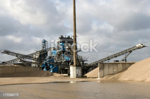 a gravel plant in hamburg harbor at an awesome winterday.