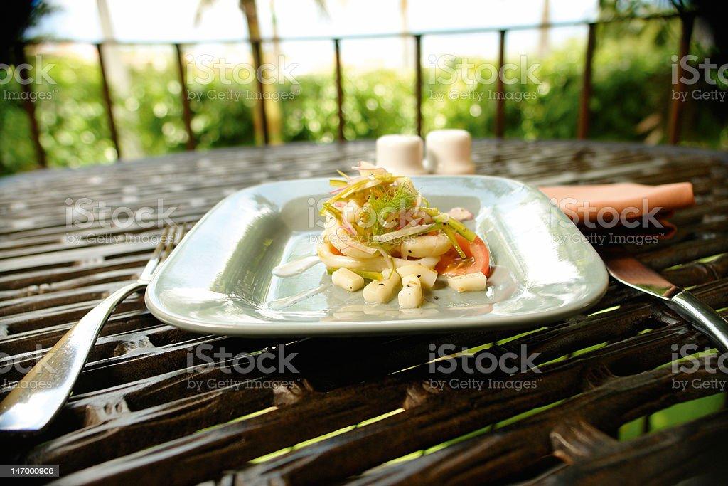 Octupus salad stock photo