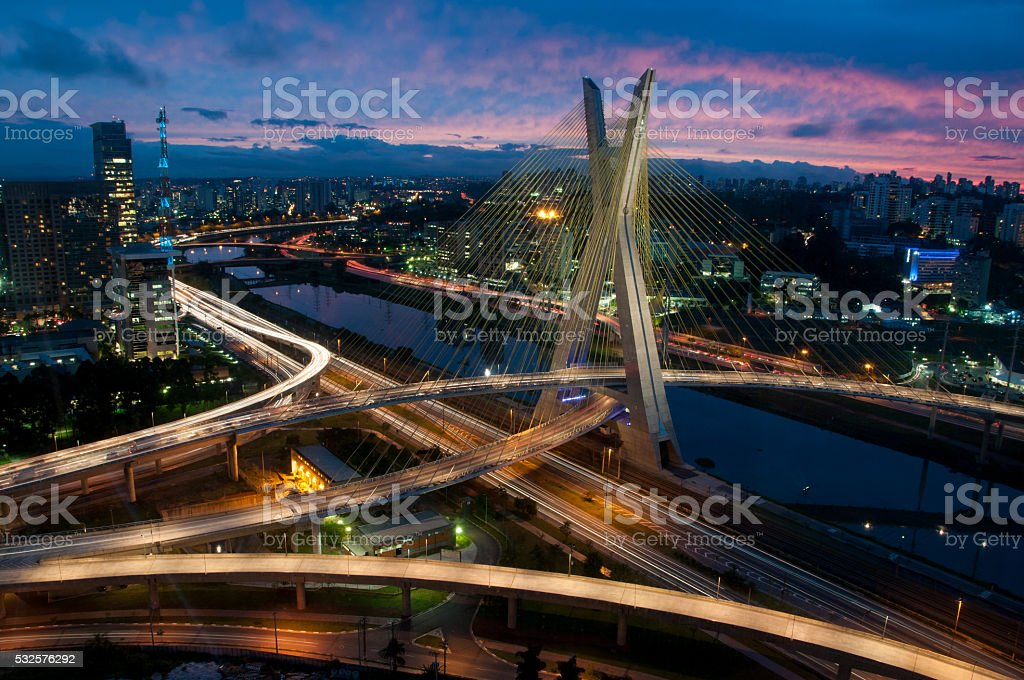 Octávio Frias de Oliveira Bridge Sao Paolo Brazil by Night stock photo