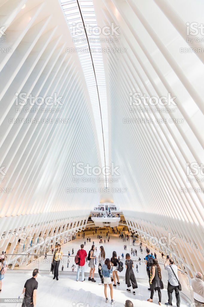 Oculus interior of the white World Trade Center station with people in New York stock photo
