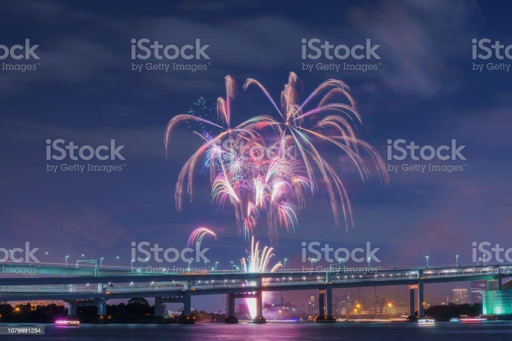 Odaiba Rainbow Fireworks stock photo