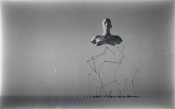 Odd sculpture Odd sculpture of a human torso supported by a wire structure, vintage photo effect sculpture stock pictures, royalty-free photos & images