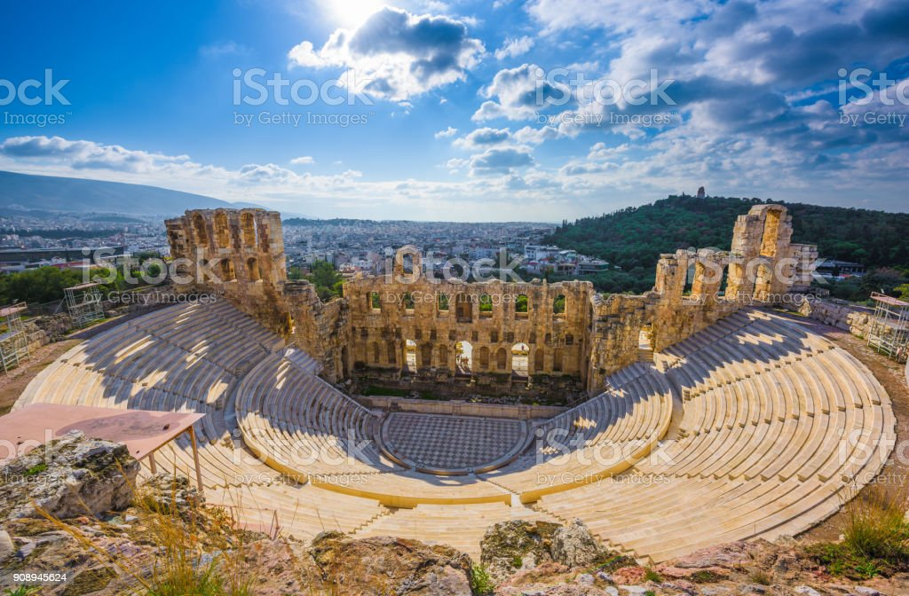 Odean Theater in the Acropolis, Athens stock photo