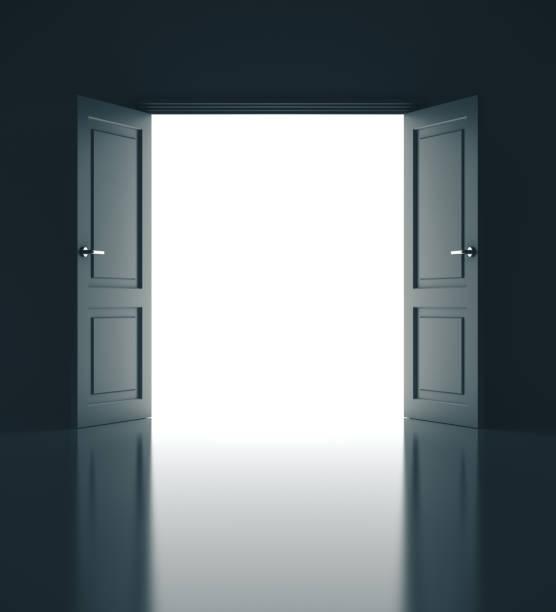 Oden door in gray room interior. stock photo