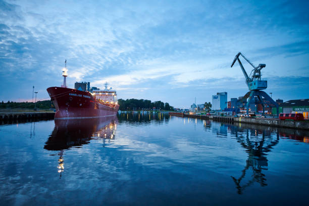 Odense harbor august 2019 stock photo