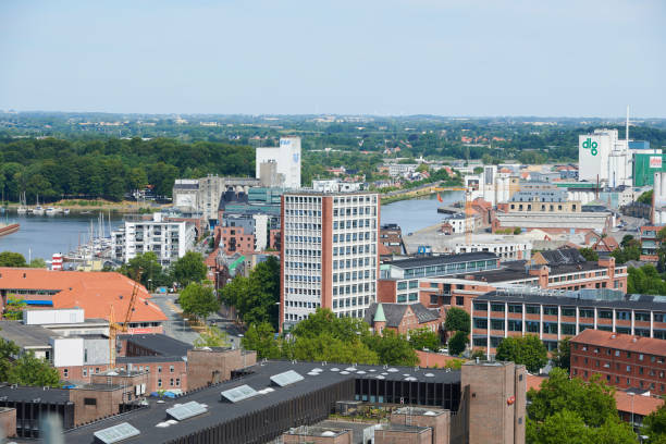 Odense harbor with business area stock photo