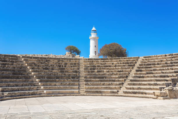 Odeon Amphitheatre and the lighthouse. Paphos, Cyprus stock photo