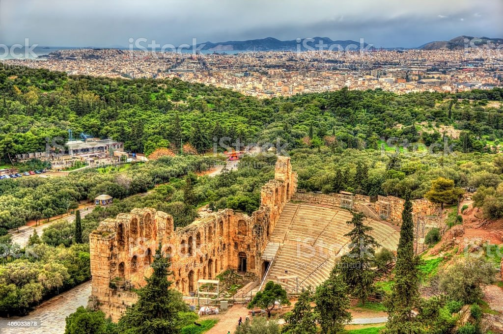 Odeon of Herodes Atticus, an ancient theatre in Athens, Greece stock photo