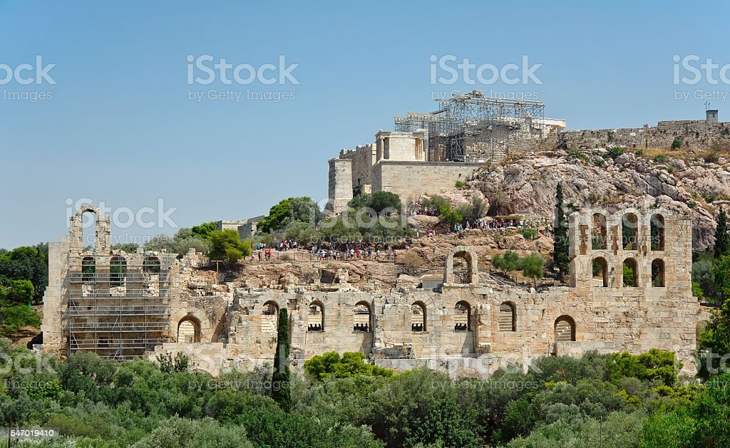 Odeon of Herodes Atticus and Acropolis of Athens in Greece stock photo