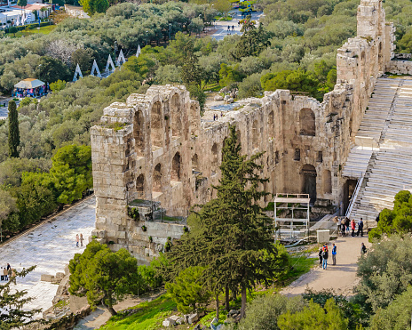 Aerial view from acropolis hill of odeon of herodes atticus, athens, greece