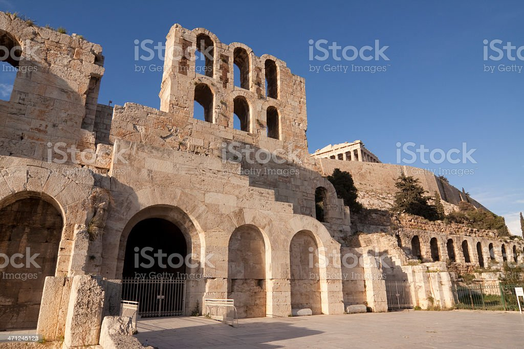 Odeon of Herodes Atticus on Acropolis Athens royalty-free stock photo