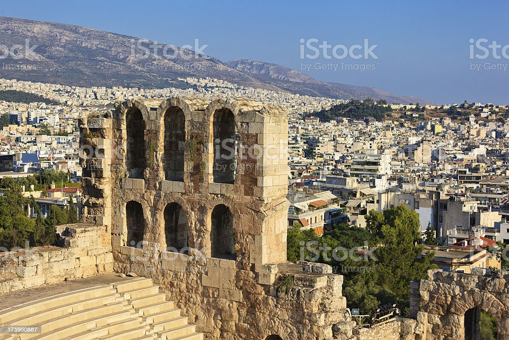 Odeon theater in Acropolis royalty-free stock photo
