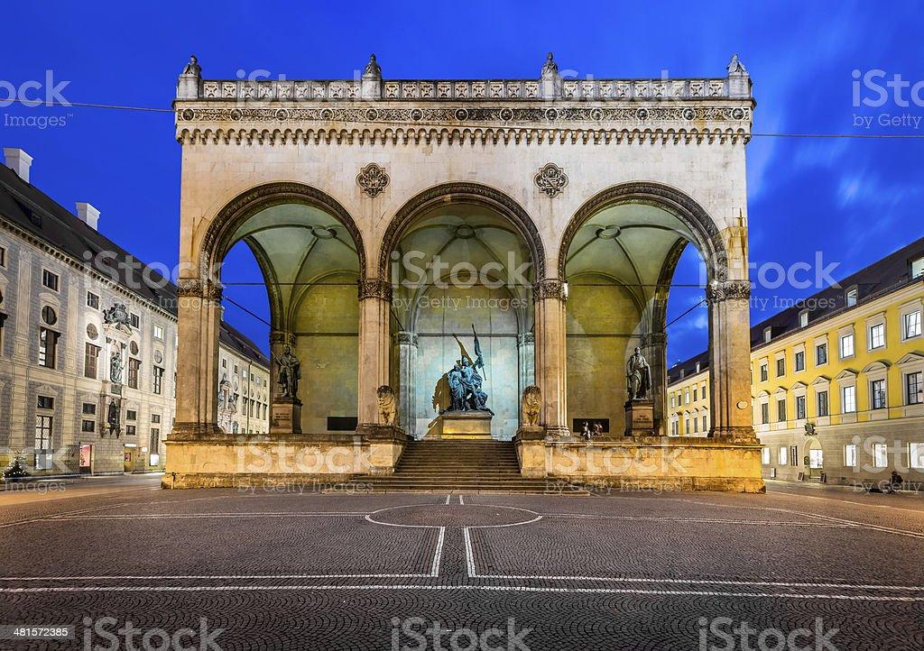 Odeonplatz and Feldherrnhalle in the Evening, Munich, Bavaria stock photo