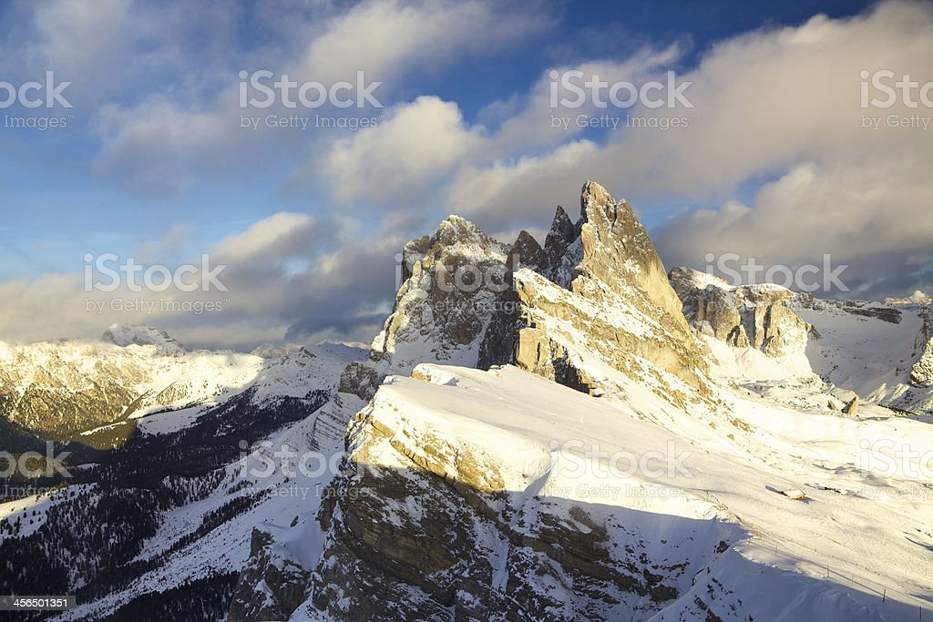 Odle da Seceda con neve stock photo