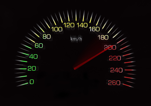 Odometer of car with black background