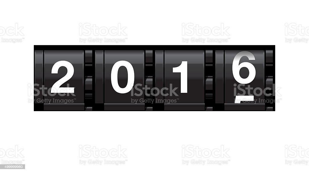 Odometer turning from 2015 to 2016 stock photo