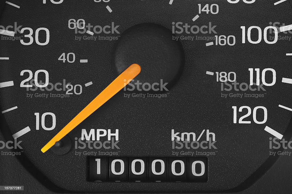 Odometer with 100000 miles stock photo