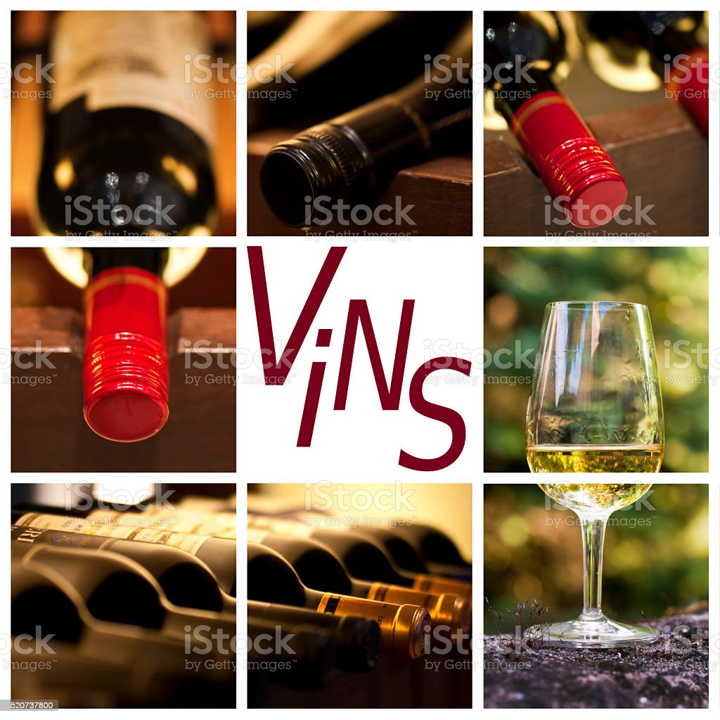 Oenology and wine concept collage, word vins stock photo