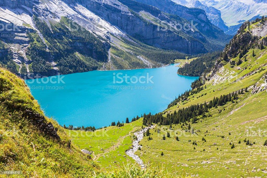 Oeschinensee in Switzerland stock photo