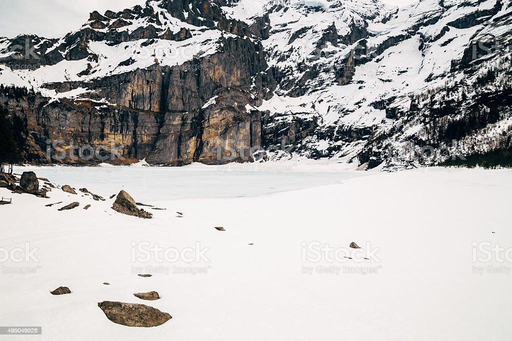 Oeschinensee, Kandersteg, Switzerland. stock photo