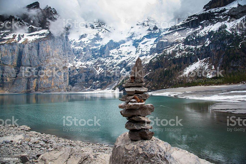 Oeschinensee lake - Switzerland stock photo