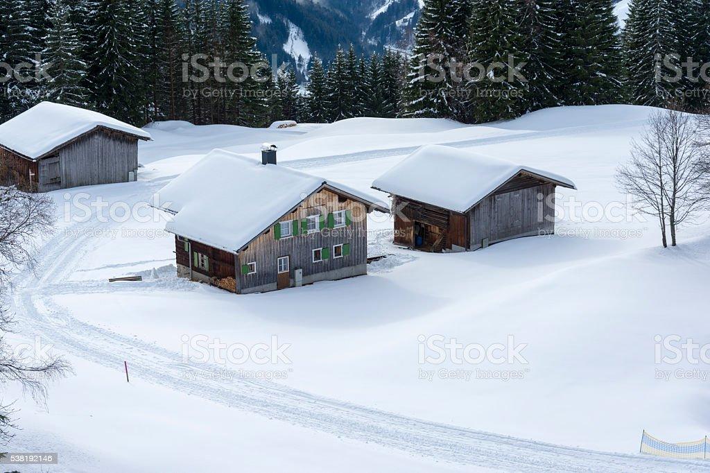 Oesterreich, Montafon, Silbertal, Skihuetten am Kristberg stock photo