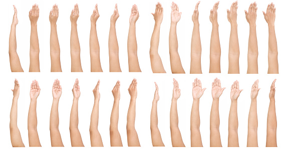 Female Asian hand gestures isolated over the white background. ISOLATED.