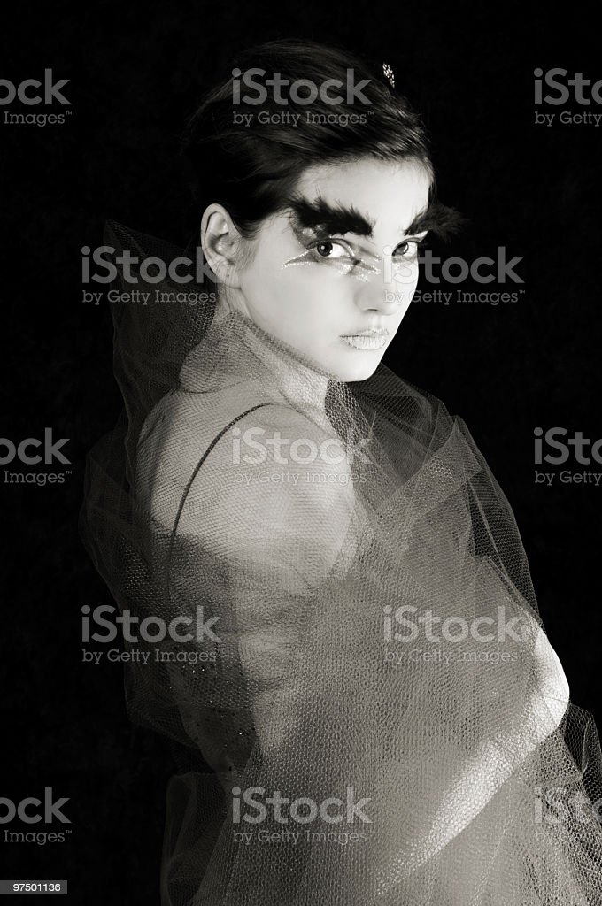 B&W of glamour girl in tulle wrap. royalty-free stock photo
