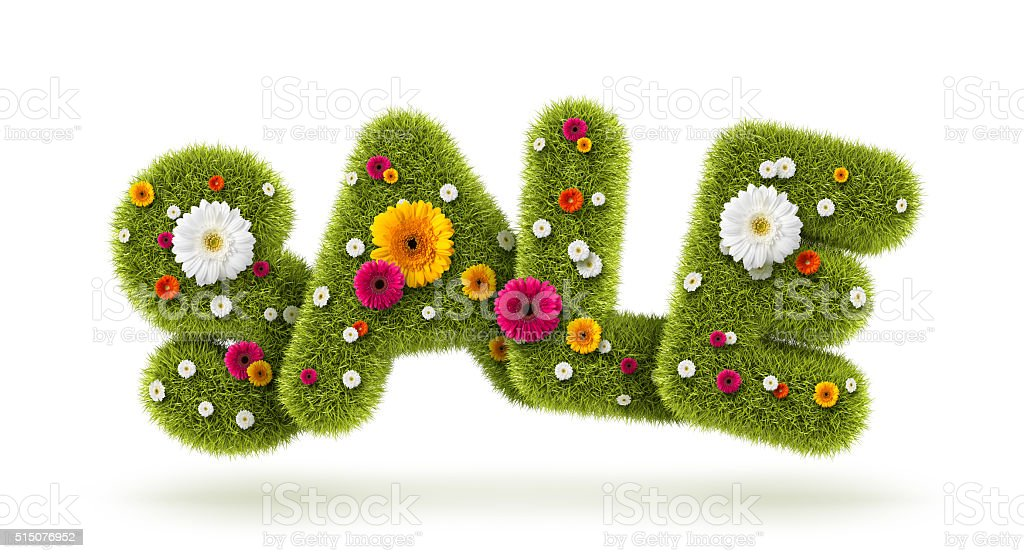 SALE of grass and flowers stock photo