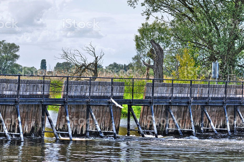 HDR of havel River with Needle dam weir stock photo