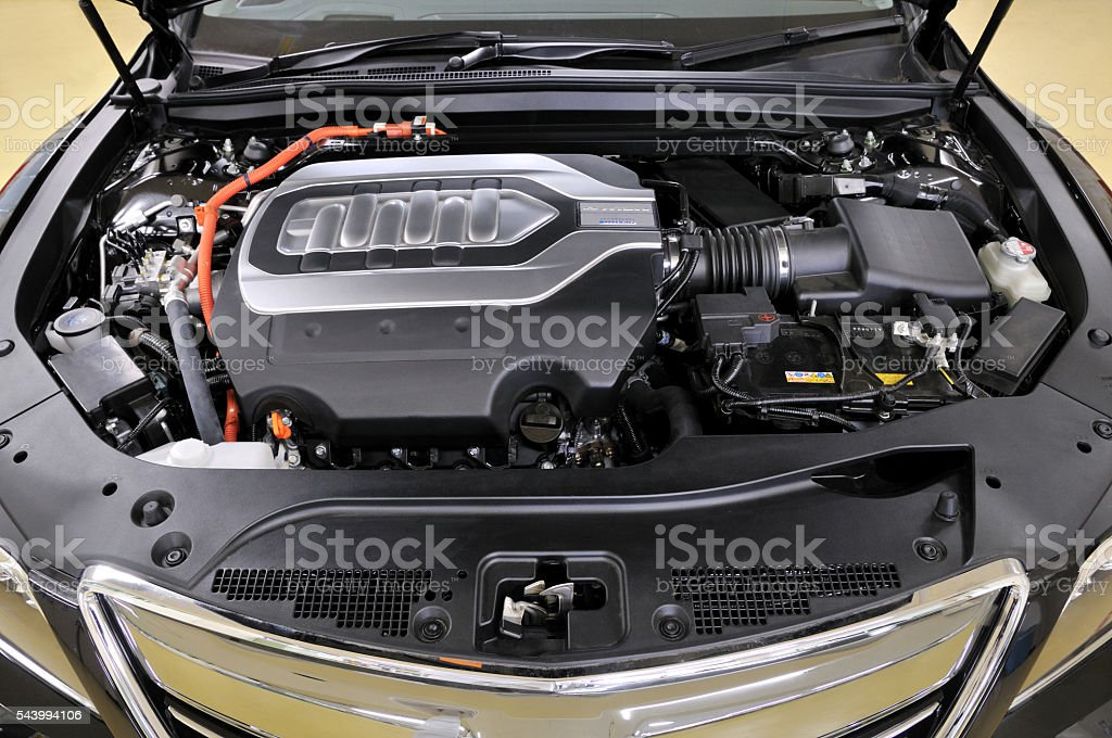 Of hybrid car engine stock photo