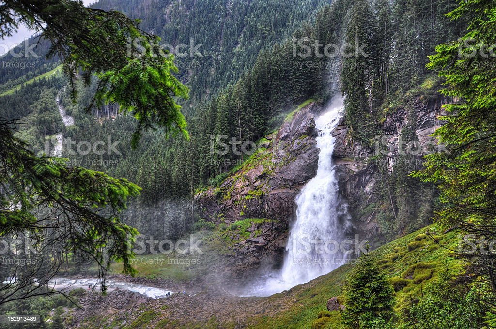 HDR of Krimml Waterfall in Austria on a rainy day stock photo
