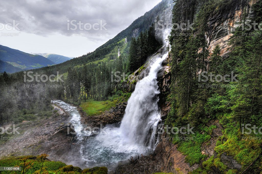 HDR of Krimml Waterfall in Austria stock photo