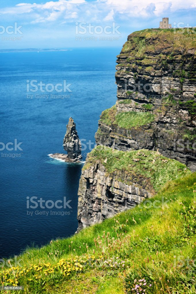 HDR of O'Brien's Tower at the Cliffs of Moher in County Clare, Ireland stock photo