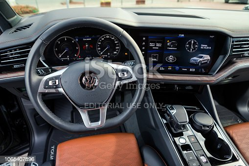 03 of October, 2018 - Vinnitsa, Ukraine. New Volkswagen Touareg  presentation in showroom - interior inside