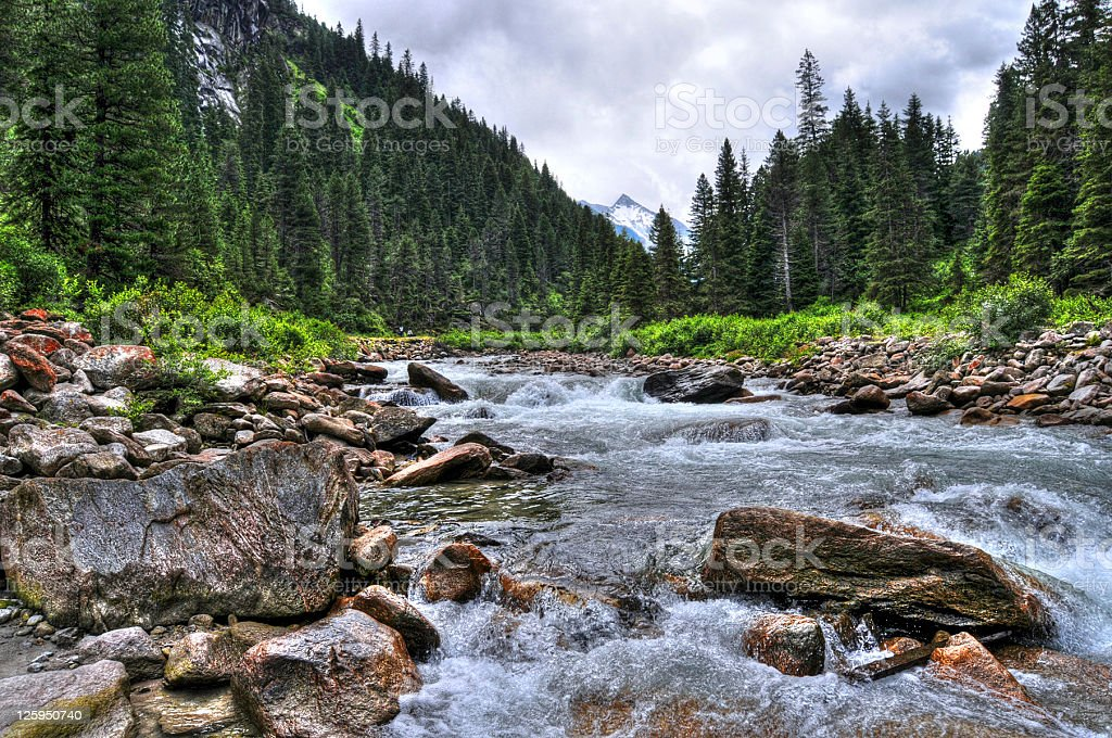 HDR of river landscape (Austria) royalty-free stock photo