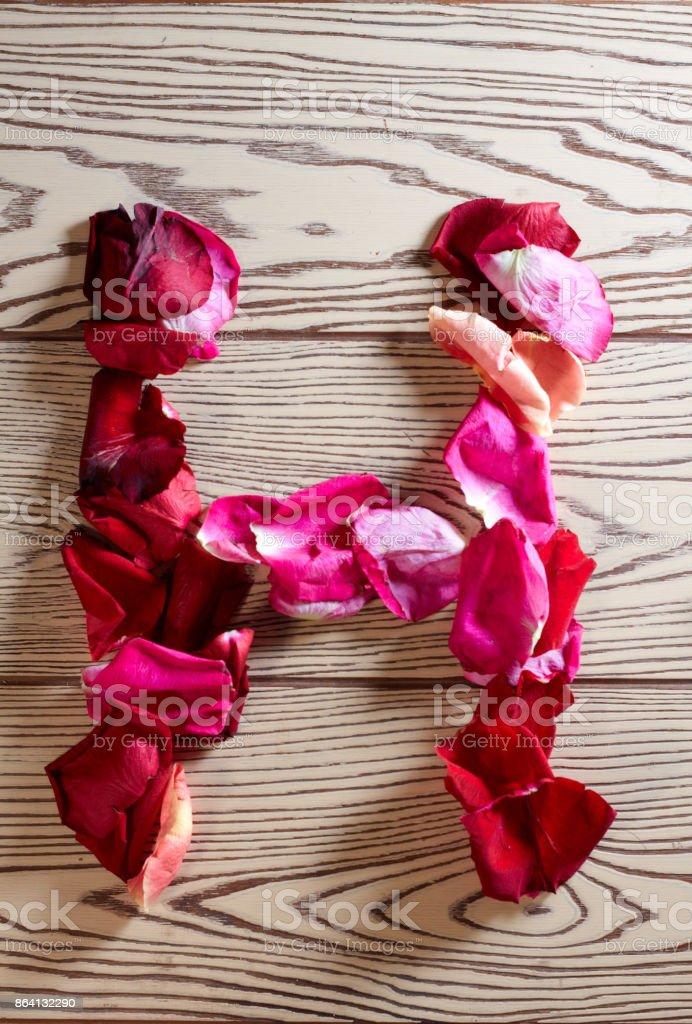 of rose petals alphabet royalty-free stock photo