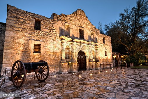 A high dynamic range image of the Alamo in Texas at twilight.