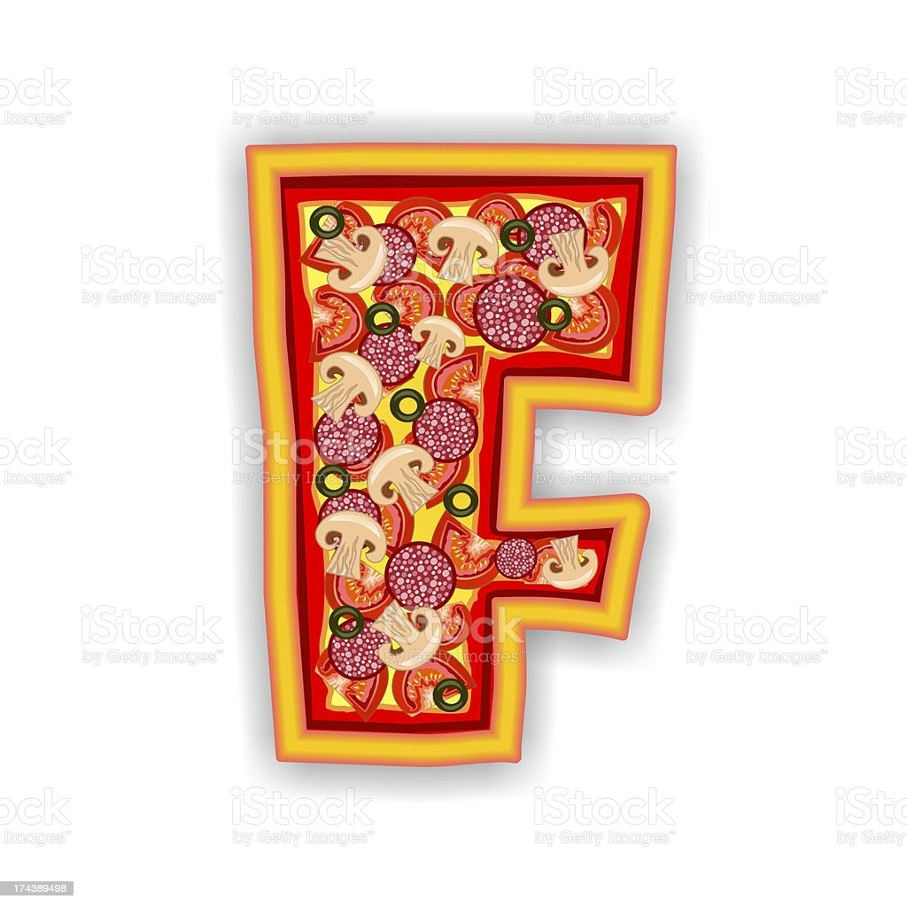 PIZZA - LETTER F of the alphabet royalty-free stock photo