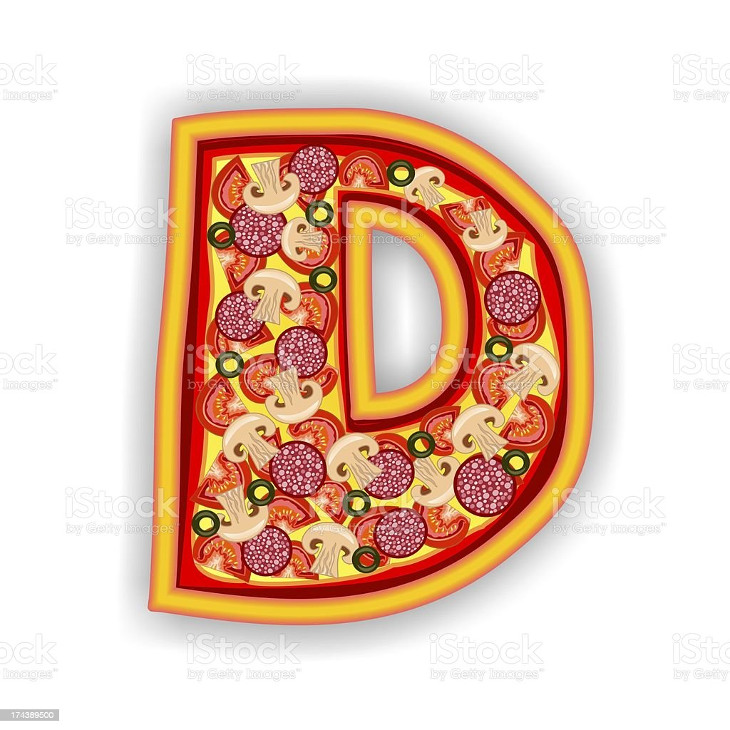 PIZZA - LETTER D of the alphabet royalty-free stock photo