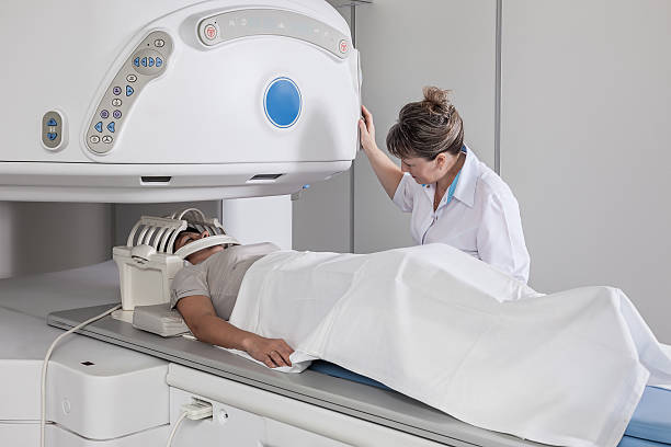 MRI of the patient's head. stock photo
